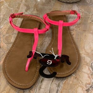 NWT neon pink sandals